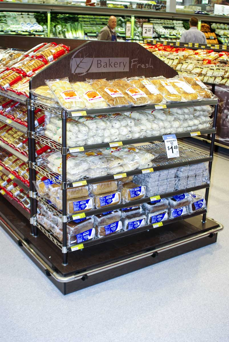 Bakery Island bread and baked goods display Lane Industries supermarkets