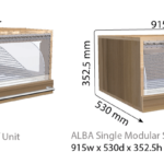 Lane Alba bakery display units with dimensions